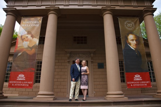 Bettie and her husband Jonathon at the Redwood Library.