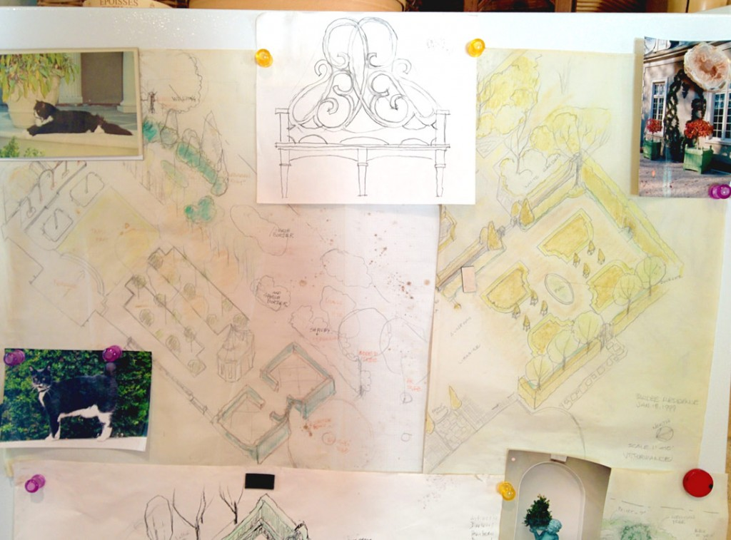 My original drawings for the bench and gardens.