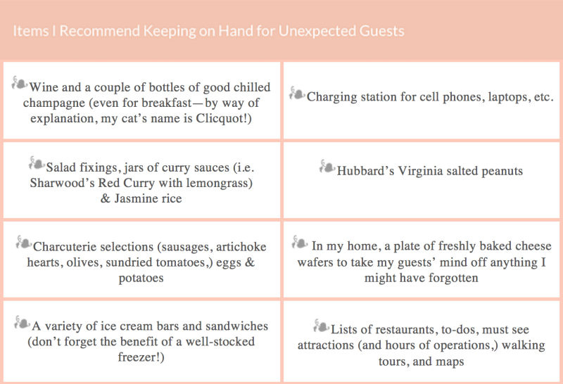 Items I Recommend Keeping on Hand for Unexpected Guests