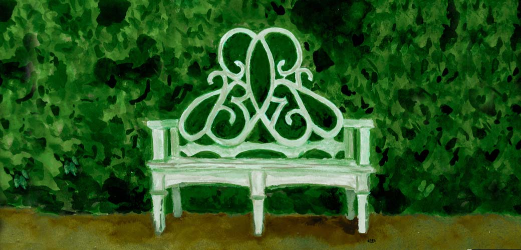 parterre bench watercolor