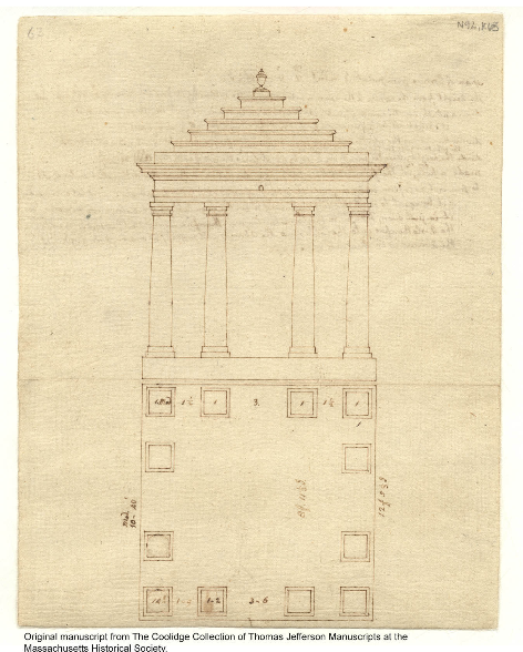 Monticello: pigeon house, recto, probably 1778, by Thomas Jefferson. N92; K63 [electronic edition] (From the Massachusetts Historical Society)