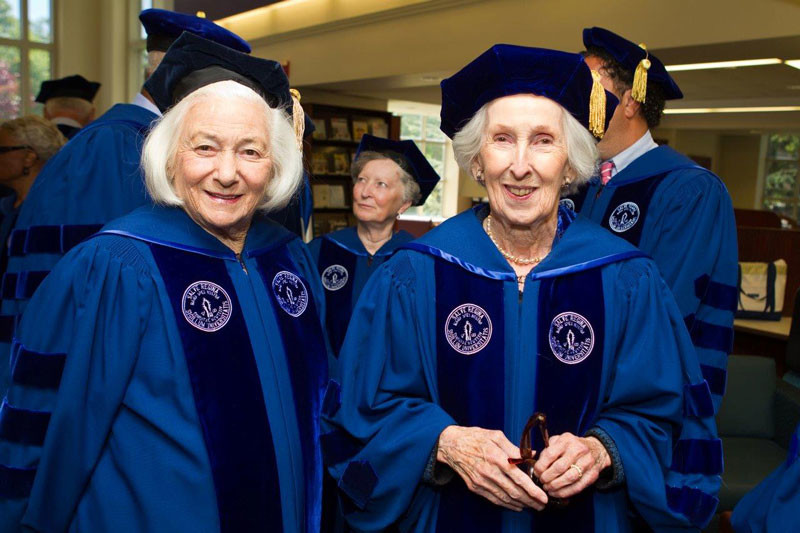 Close friends and Trustees, Nuala Pell and Noreen Drexel at the Salve Regina University Commencement in 2010. Photo Credit: John Corbett